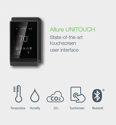 Distech Allure Unitouch. Room touchscreen user interface to manage comfort settings.