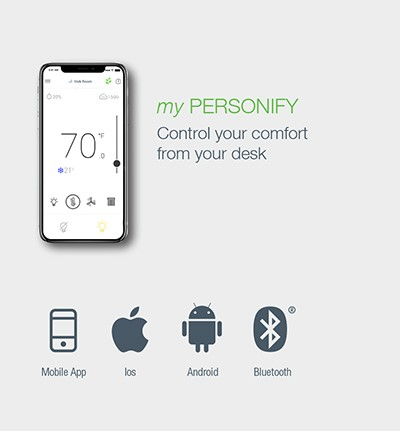 myPersonify mobile app to manage workspace comfort settings